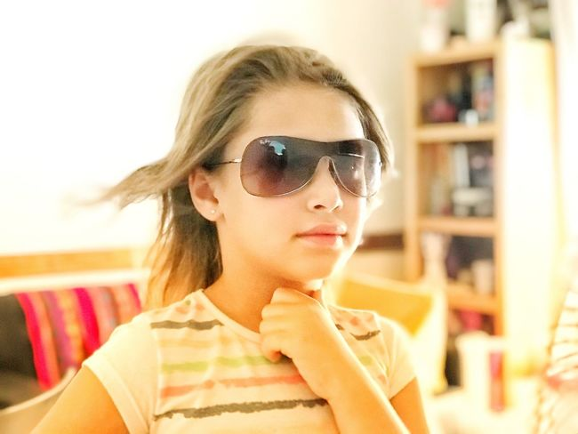 ❤️ Eyeem Kids Photography EyeEm Kids Model Child Childhood Little Girl Sunglasses Young Adult One Person Focus On Foreground Front View Young Women Real People Close-up Portrait Indoors  Beautiful Woman Headshot Lifestyles Day One Young Woman Only