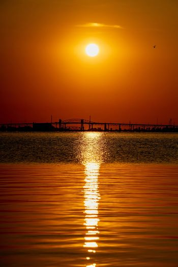 A sunrise over
