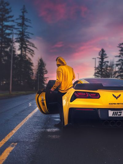 Adventure Nature Photography Explore Transportation Mode Of Transportation Yellow Car One Person Motor Vehicle Road Sky Full Length Nature Outdoors