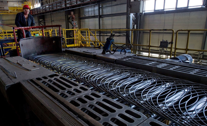 Russia, Yekaterinburg, Berezovsky metallurgical plant, manufacture of slabs, heating, packing rod Casual Clothing City City Life Day Leisure Activity Lifestyles Packing Rod Russia, Yekaterinburg, Berezovsky Metallurgical Plant, Manufacture Of Slabs, Heating, Packing Rod
