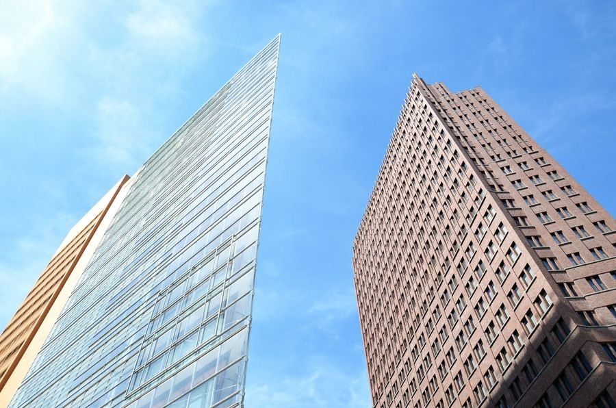 Architecture Modern Low Angle View Built Structure Building Exterior Sky City Berlin Germany Potsdamer Platz 21st Century Towers Discover Berlin