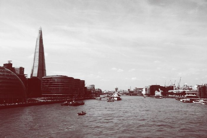 London River Thames Water London United Kingdom Sky Black & White B&w Red City The Shard Outdoors Travel Destinations