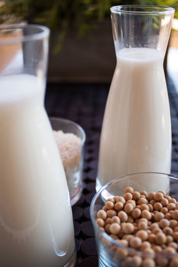 Close-Up Of Milk With Soybeans In Bowl