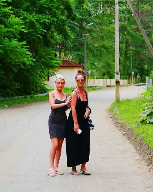 Hello World That's Me Check This Out Hot Day Summertime Friendship Women Blonde And Brunette Walking Road Countryside Country Road Trees Life Green Leaves