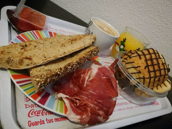 Food And Drink Food Indoors  Freshness SLICE Healthy Eating High Angle View No People Bread Plate Ready-to-eat Close-up Day Breakfast Spanish Breakfast Jamon Serrano Orange Juice  Jamon Serrano Y Coffee Madrid