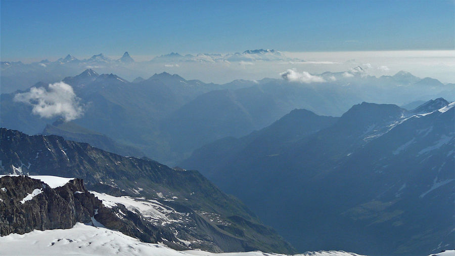 Scenic view of snowcapped mountains against sky, with matterhorn and monte rosa on the background