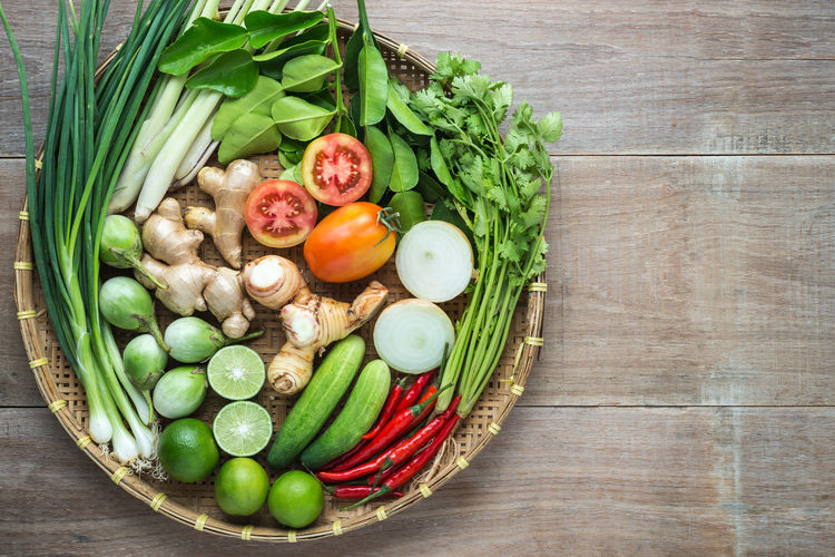 High angle view of fruits and vegetables in basket on table