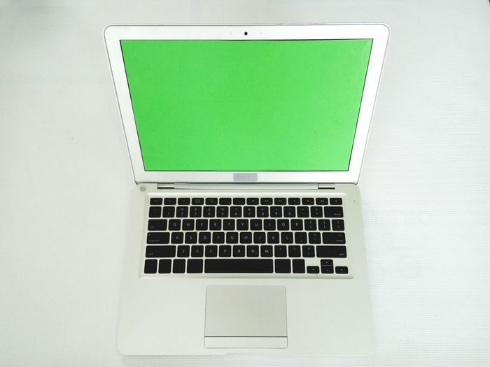 Close-up of blank laptop on table