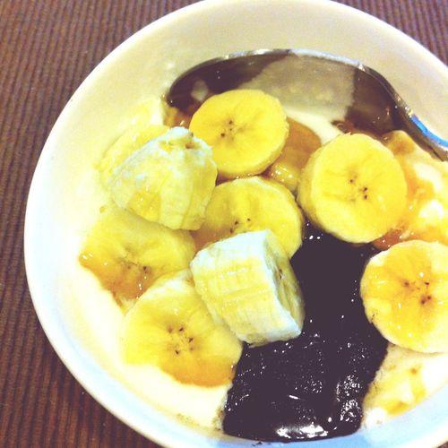 Healthy Food Sesamesauce Banana Yougurt