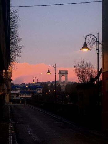 Cotton candy sky Sky Sunset Architecture Transportation Street Nature No People