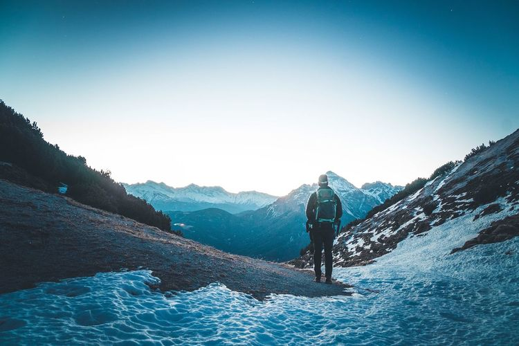 Sunrise in Austria Adventure Winter Beauty In Nature One Person Mountain Nature Outdoors Hiking Landscape First Eyeem Photo