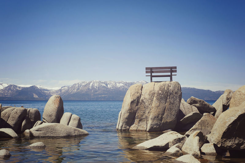Astrology Sign Beach Beauty In Nature Bench Clear Sky Cold Temperature Day Frozen Ice Lake Tahoe Lake View Nature No People Outdoors Polar Climate Rocks Scenics Sea Sky Tranquil Scene Tranquility Travel Destinations Vacations Water