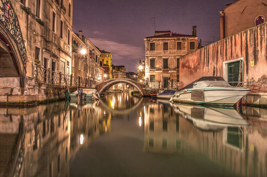 Architecture Bridge Bridge - Man Made Structure Canal City Electric Light Illuminated Italia No People Outdoors Reflection Standing Water Travel Destinations Venedig Water