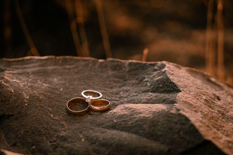 Close-up of wedding rings on metal