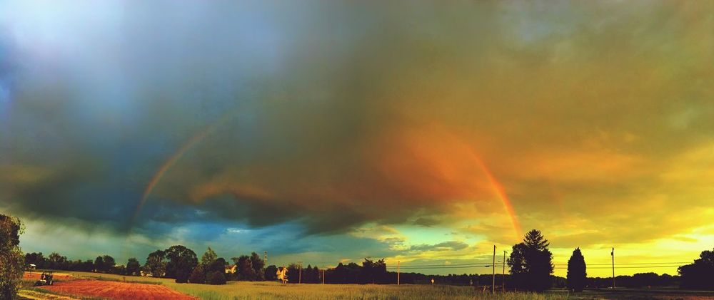 Sky Scenics Cloud - Sky Beauty In Nature Nature Silhouette Tranquility Tranquil Scene Rainbow Field Tree Outdoors Sunset No People Building Exterior Multi Colored Day Newjersey EyeEmBestPics EyeEm Gallery Eye4photography  Nature Rainbow Sky EyeEm Nature Lover
