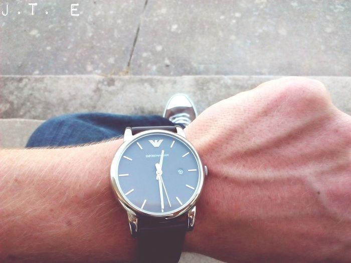 Got myself a new watch. Emporio Armani Men Wearing Watches Emporio Armani Selfie ✌ Selfie✌ Selfies