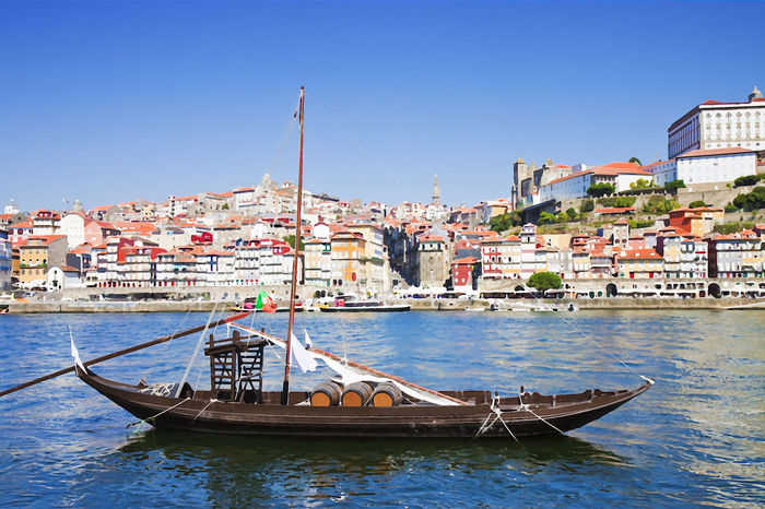 """Portuguese wooden boats called """"barcos rabelos"""") - watercolor concept Portugal Architecture Barcos Rabelos Blue Building Building Exterior Built Structure City Cityscape Clear Sky Day Douro River Mode Of Transportation Nature Nautical Vessel No People Outdoors Portuguese Culture Residential District River Sailboat Sky Sunlight Transportation Water Waterfront"""