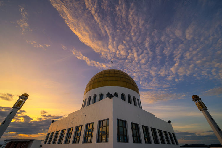 Thailand Architecture Blue Building Building Exterior Built Structure City Cloud - Sky Dome Isalam Low Angle View Nature No People Orange Color Outdoors Place Of Worship Sky Songkhla Songkhla Mosque Sunlight Sunset Tourism Travel Travel Destinations