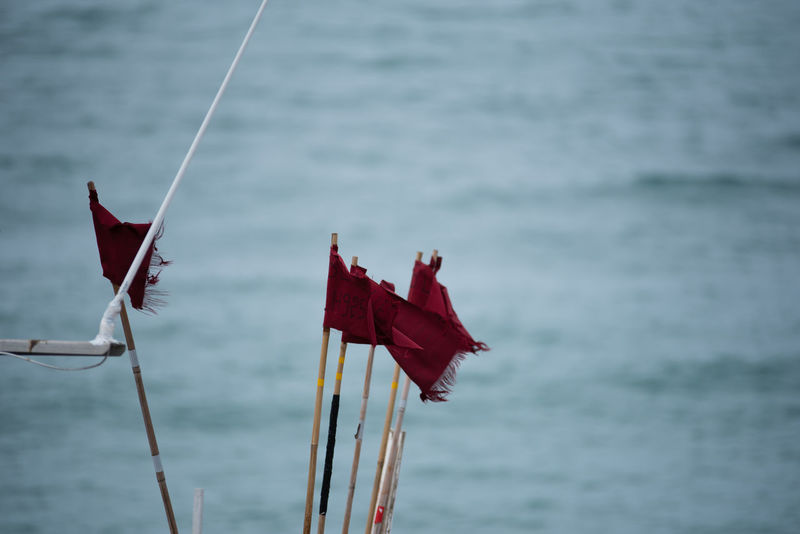 Normandie France Normandie, France Close-up Day Deauvillebeach Flag Focus On Foreground Hoffi99 Nature Nautical Vessel No People Outdoors Patriotism Red Sea Water