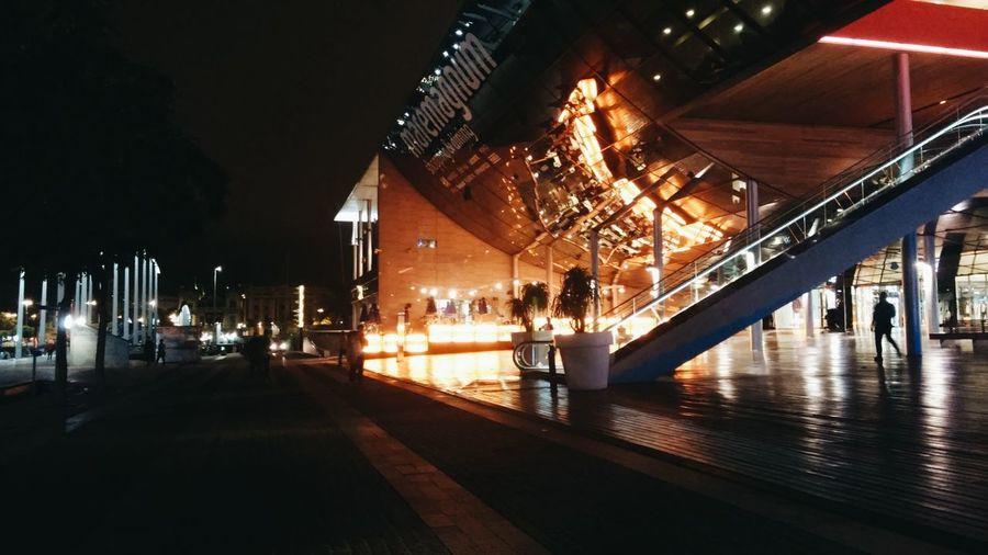 Illuminated street light at night