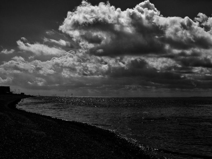 Looking out to sea. Southendonsea Sea Seascape Seaside Sea And Sky Looking Out To Sea Clouds Skyscape Sky Dramatic Sky Sky_collection Southend Sky And Sea Southend Seaside Sky And Clouds Clouds And Sky British Seaside Southend Seafront Southend On Sea Black & White Blackandwhite Black And White Looking Out On The Sky Beach Front Sea View