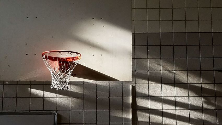 Indoors  No People Archival Architecture Human Body Part Day Basketball Basketball Hoop Basketball Court Sunlight In The Morning Light