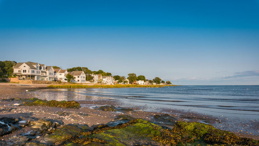 Low tide at Oyster River Beach, Milford, CT Connecticut New England  Architecture Beach Beachfront Beachphotography Beauty In Nature Blue Building Exterior Clear Sky Day Nature No People Outdoors Scenics Sea Seascape Sky Tranquility Travel Destinations Water