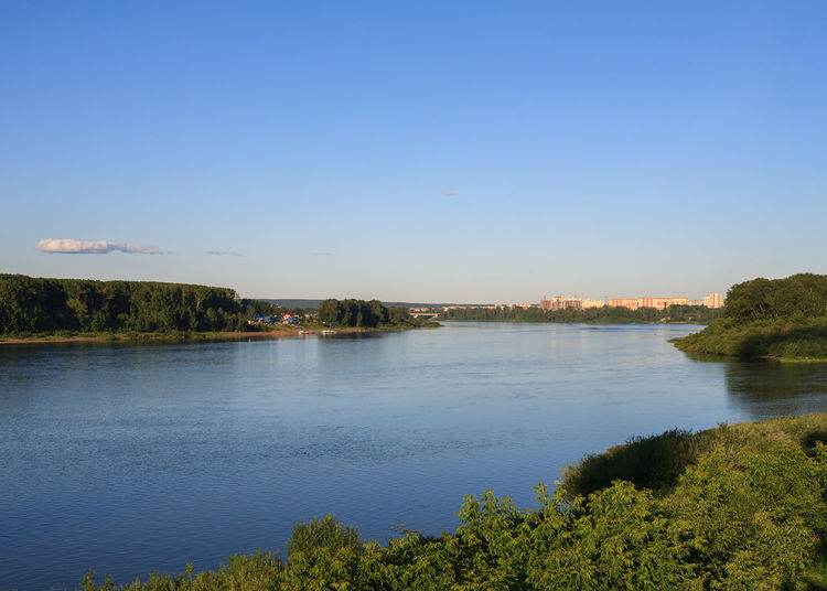 River Tom in Kemerovo city. River View Riverside Trees Blue Clear Sky Day Idyllic Kemerovo No People Non-urban Scene Outdoors River Siberia Sky Summer Tranquil Scene Tranquility Water