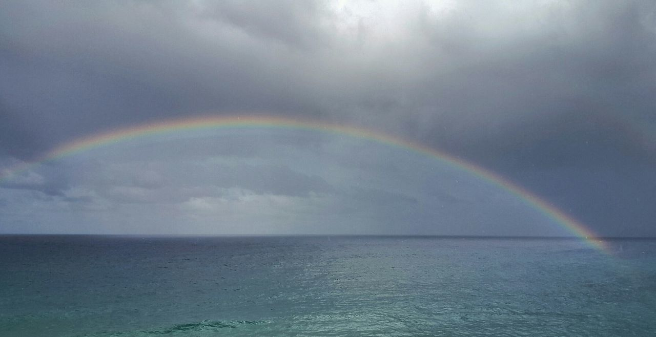 Scenic View Of Rainbow Over Sea Against Cloudy Sky
