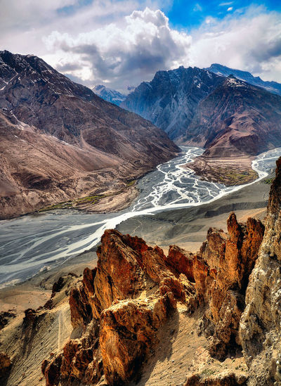 Spiti valley by mountains against sky