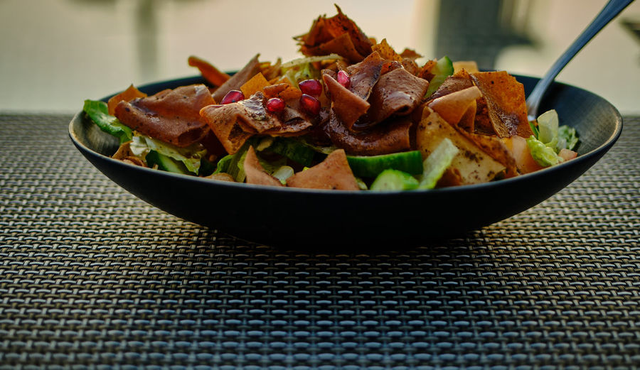 Close-up of salad on table