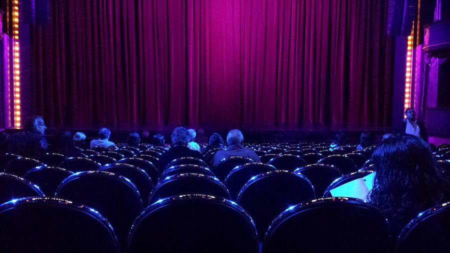 People sitting on seats at theatre