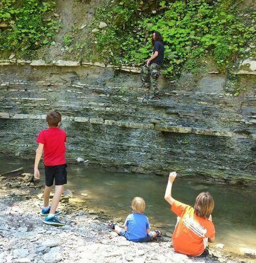Children Adventure Climb Up! Hiking Ohio, USA Bender Creek