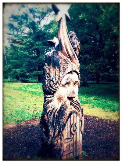 Wooden Sculpure Wizzard WestonbirtArboretum EnglishCounrtyside