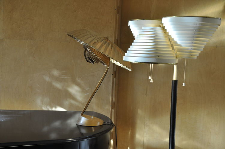 Piano Wall Aalto House Design Detail Lamp Stand Lamps No People Wooden