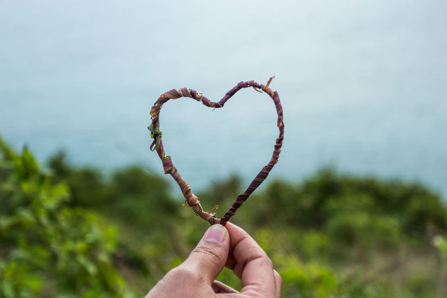 Beauty In Nature Close-up Cropped Day Detail Focus On Foreground Heart Shape Heart ❤ Holding Human Finger Leisure Activity Lifestyles Nature Outdoors Part Of Person Personal Perspective Selective Focus Showing Sky Unrecognizable Person
