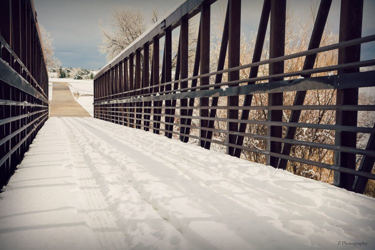 Bridge to where Bridge Architecture Snow Cold Temperature Built Structure Winter No People Day Nature The Way Forward Sunlight Direction Railing Diminishing Perspective Outdoors Covering Metal Building