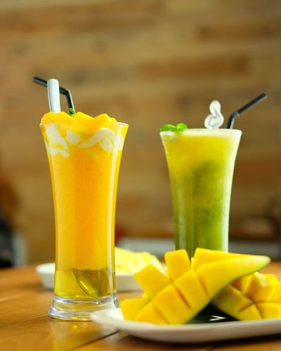 Perfect for a hot day ☀️ Smoothie Juice Pineapple Mango Food And Drink Refreshment Freshness Indoors  Drink Table Drinking Glass Yellow Close-up Healthy Eating No People EyeEm Ready   EyeEmNewHere