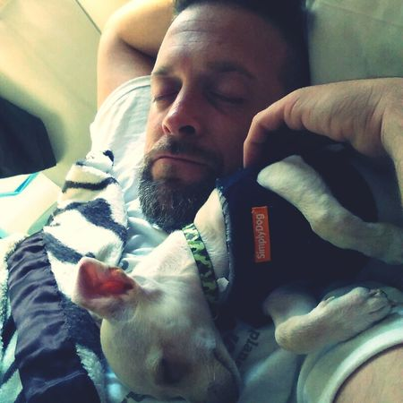 Nap Time Sleepyhead Sleeping Dog Daddy And Son Contented_togetherness Our Baby