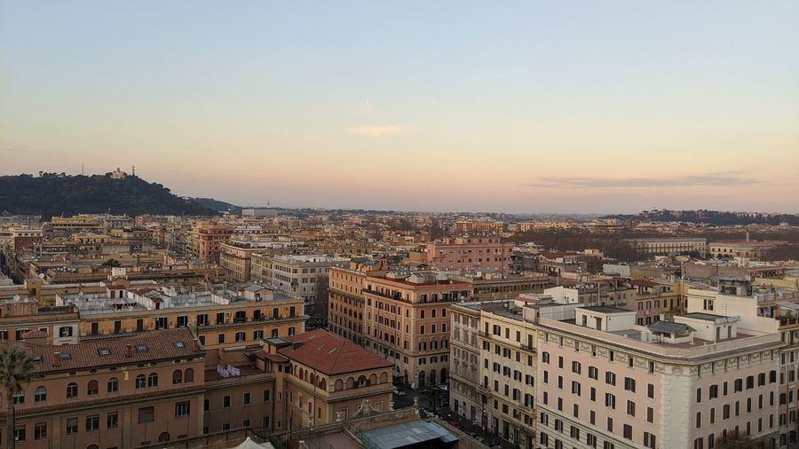High angle view of buildings in city from vatican city museum
