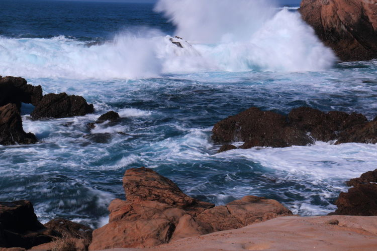 Beauty In Nature Blue Wave, Day Idyllic Nature No People Outdoors Point Lobos State Park CA Rock Rock - Object Rock Formation Scenics Sea Tranquil Scene Tranquility Water Wave