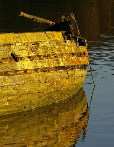 Autumn, of life, ?. hulk near Woodbridge Suffolk. Water Nautical Vessel Boat Reflection Obsolete Deterioration Weathered Waterfront No People Old