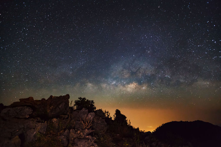 Astronomy Beauty In Nature Constellation Galaxy Milky Way Mountain Nature Night No People Outdoors Scenics Sky Space Space Exploration Star - Space Star Field Starry Tranquil Scene Tranquility Tree