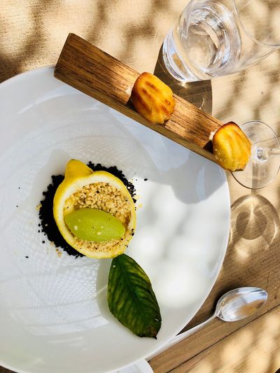 La Guerrite La Gueritte Ile De Lerins Greek Cuisine Island Desert Food EyeEm Selects Food And Drink Food Freshness Still Life High Angle View Drink Table Refreshment Ready-to-eat Sweet Food Close-up Plate Directly Above