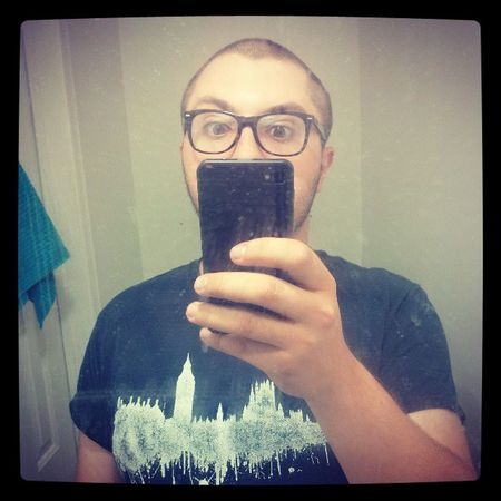 Mirror shots are for five year old girls and hipsters...and awesome people. High five! Hipster Glasses Bald Bandshirt mirror selfie dirty lame washroom
