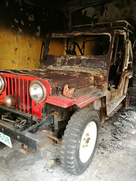 Transportation Mode Of Transport Abandoned Car Land Vehicle No People Day Outdoors Burned Car Burnt Jeep Marawi City Marawi Crisis Philippines