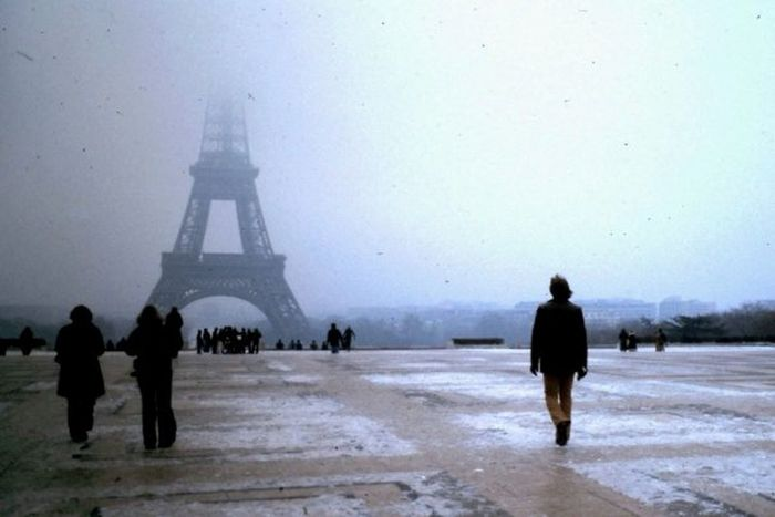 1/7/1979 Cold Temperature Eiffel Tower Fog Outdoors Paris, France  Place Du Trocadero Rear View Snow Snowing Winter