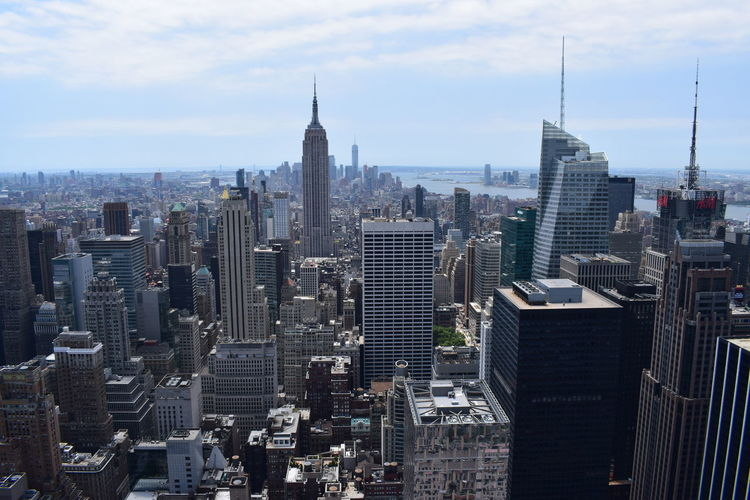 New york manhattan skyline from top of the rock observation deck, panoramic view on ny city
