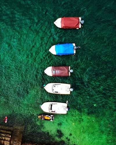 Directly Above Of Boats Moored On Sea