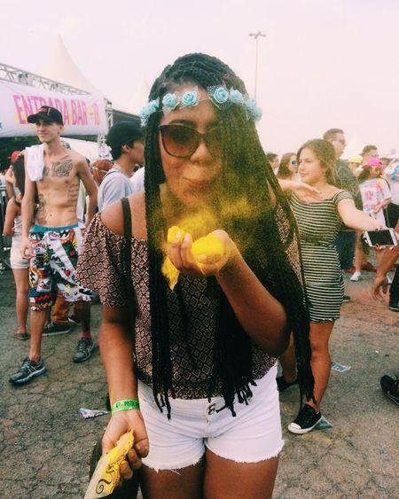 Festival Event Person Young Adult Funky Outdoors Leisure Activity Lifestyles Love Front View Togetherness Friendship Casual Clothing Fun Long Hair Looking At Camera Mask - Disguise (null)Tumblrgirl Fashionable Fun Beauty Colors Yellow